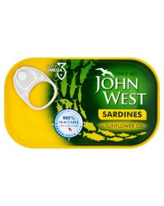 JOHN WEST SARDINES IN SUNFLOWR OIL - 120GR