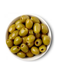 PITTED GREEN OLIVES - 600GR